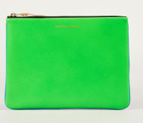 Leder-Clutch zweifarbig Fluo Blau/Grün
