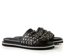 Sandale mit verzierten Riemen Schwarz/Silber