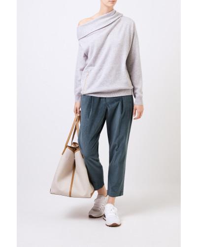 One-Shoulder Cashmere-Pullover Grau
