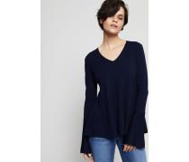 Woll-Pullover mit Glockenärmeln Dunkelblau