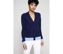 Cashmere-Jacke mit Bündchen Blau