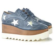 Plateau-Loafer mit Sternen-Verzierung Mittelblau