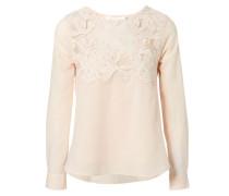Baumwollshirt mit Häkel-Details Rosé