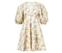 Mini-Kleid 'Linen Day Mini Dress' Weiß/Khaki