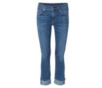 Jeans 'Jazmin Ankle Cuffed Slim Straight' Mittelblau