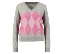 Cashmere-Pullover mit Argyle-Muster /Rosé