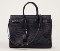 Tote Bag in Kroko-Optik 'Sac de Jour Medium' Marineblau