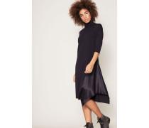 Woll-Kleid mit Seiden-Einsatz Marineblau