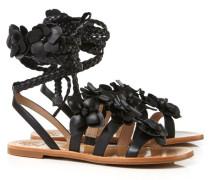Sandale mit Blüten Schwarz