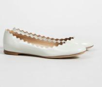 Lackleder-Ballerina mit Muschelsaum Mint