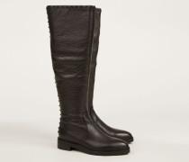 Flacher Stiefel mit Nieten-Details 'Madison Avenue' Schwarz