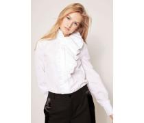 Baumwoll-Bluse mit Rüschen-Details Weiß