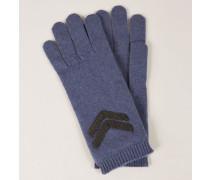 Cashmere-Handschuhe mit Perlen-Details Blau