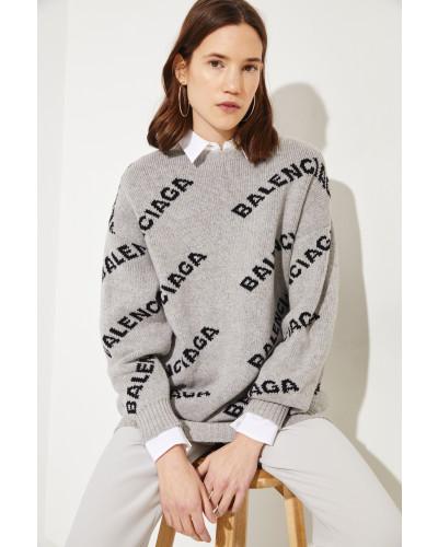 Woll-Pullover mit Logo Grau/Schwarz