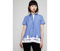 Gestreifte Bluse mit Plissee-Details am Saum Weiß/Blau