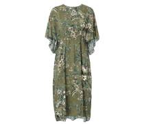 Weites Kleid mit floralem Print Grün/Multi