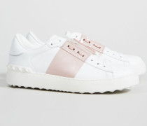 Sneaker mit Nieten-Details Weiß/Rosé