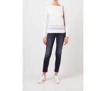 Woll-Seiden-Pullover mit Streifen Weiß