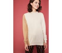Feinstrick-Pullover mit Knopf-Detail Crème