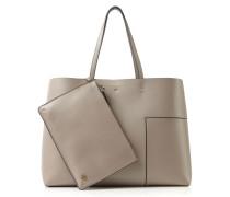 Shopper 'Block-T Drawstring' Grau