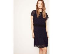 Kleid mit aufgestickten Punkten Marineblau