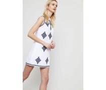 Baumwollkleid 'Celeste' mit Stickdetails Weiß/Navy