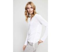 Leinen-Pullover mit Rippsband-Detail Weiß
