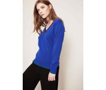 Cashmere-Pullover mit V-Ausschnitt und Streifen Blau/Multi