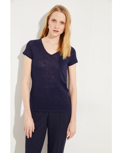 Leinen T-Shirt Marineblau