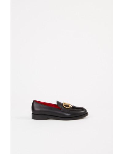 Leder-Loafer mit V-Logo Schwarz