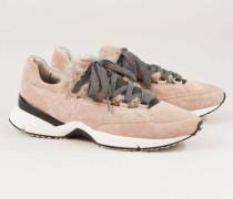Sneaker mit glänzendem Element Rosé