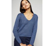 Kurzer Pullover aus Effektgarn Indigo Blau
