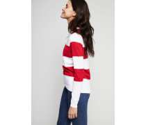 Gestreifter Baumwoll-Cashmere-Pullover Rot/Weiß