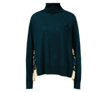 Woll-Pullover mit rückseitigem Paisleymuster Dunkelgrün