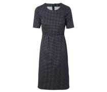 Kleid mit Punkteprint Marine/Weiß