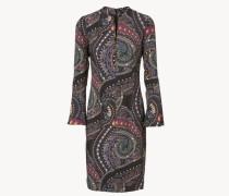 Gemustertes Kleid mit ausgestellten Ärmeln Violett/Multi
