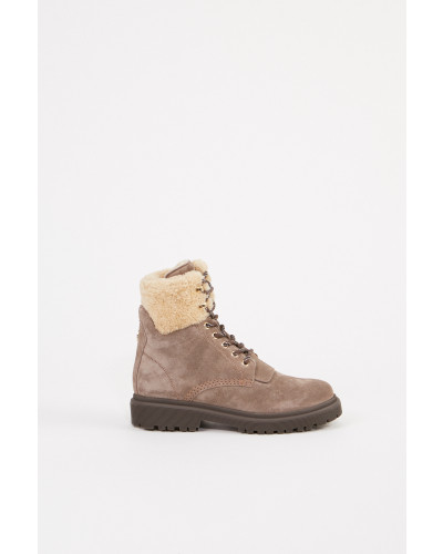 Gefütterte Veloursleder-Boots 'Patty' Taupe