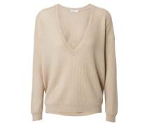 Feiner Cashmere-Seiden-Mohair Pullover mit Pailetten-Besatz Beige