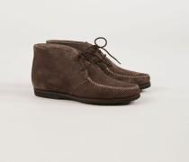 Veloursleder-Boots mit Lammfell-Innensohle Braun