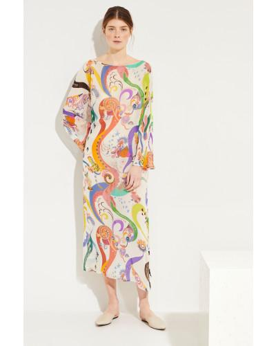 Seiden-Kleid mit Print Weiß/Multi