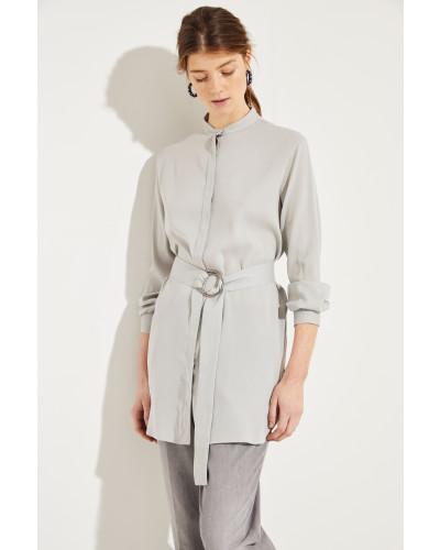 Seiden-Bluse mit Gürtel Grau
