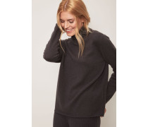 Cashmere-Pullover mit Perlen-Details in Dunkelgrau