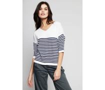 Oversize- Pullover Blau/Weiß