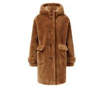 Fake Fur Mantel mit Kapuze