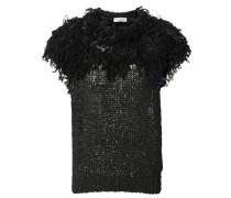 Lockerer Pullover mit Verzierung Schwarz
