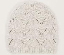 Cashmere-Mütze mit Strickmuster Light Grey