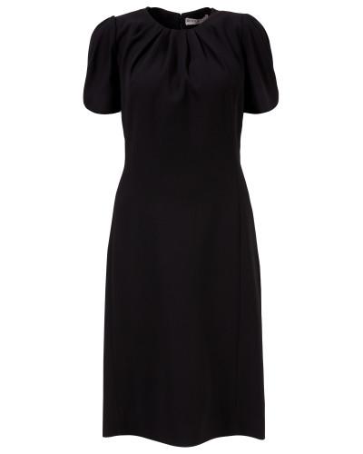 Midi-Kleid mit Raffungen Schwarz