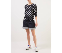 Bluse mit Polka Dots  / Weiß