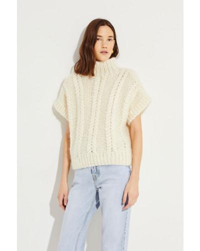 Woll-Mohair-Pullover Créme