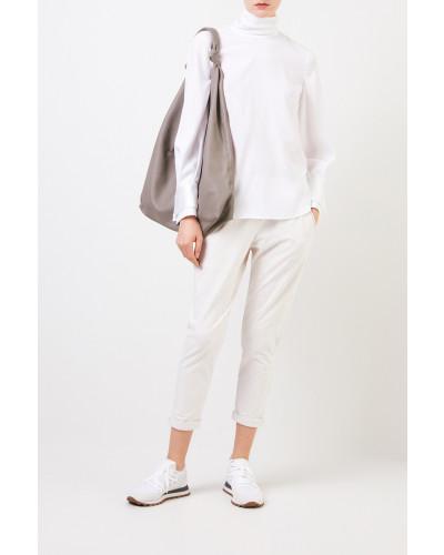 Seiden-Bluse mit Turtle-Neck Weiß